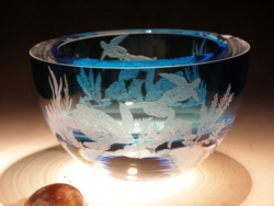 "Crystal Bowls and Buckets - 6"" Lt. Blue Bowl ""Sea Turtle Scene"""