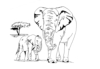 African Wildlife Designs - Elephant w/Baby  - Crystal Engraving Design