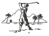 Sports-Golf Designs - Golfer with Mountains - Crystal Engraving Design