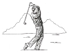 Sports-Golf Designs - New Golfer with Mountains - Crystal Engraving Design