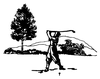Sports-Golf Designs - Golfer with Scene - Crystal Engraving Design