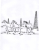 Western-Rodeo Designs - Oil Rig w/Horses - Crystal Engraving Design