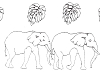 Limited-Edition Designs - Deco Elephants - Crystal Engraving Design