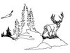 North American Wildlife Designs - Mule Deer Scene - Crystal Engraving Design