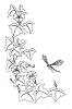 Traditional-Floral Designs - Morning Glory with Dragonfly - Crystal Engraving Design