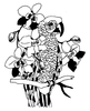 Traditional-Floral Designs - Macaw with Orchids - Crystal Engraving Design